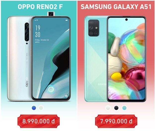 Giá bán Galaxy A51 và OPPO Reno2 F