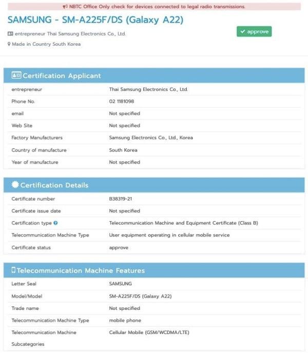 Samsung Galaxy A22 4G được NBTC Thái Lan chứng nhận