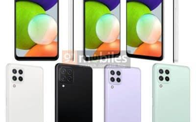 Hình ảnh render Samsung Galaxy A22 4G xuất hiện trên trang 91mobiles với bốn tùy chọn màu sắc