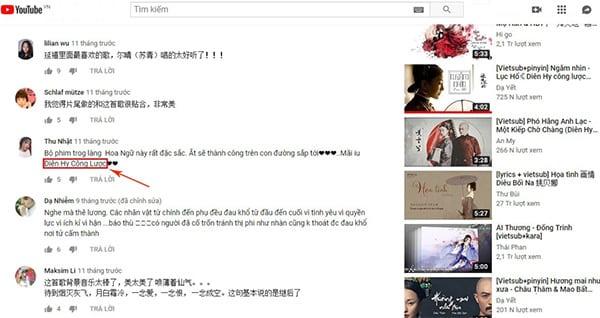 Kiểm tra phần bình luận để tìm nhạc trên YouTube