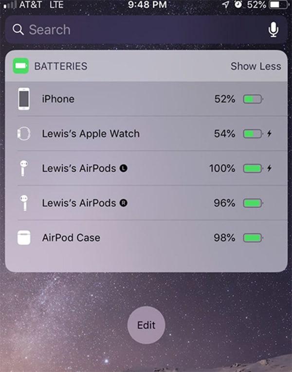 Xem pin Airpods bằng tiện ích Xem bằng các tiện ích Widget (2)