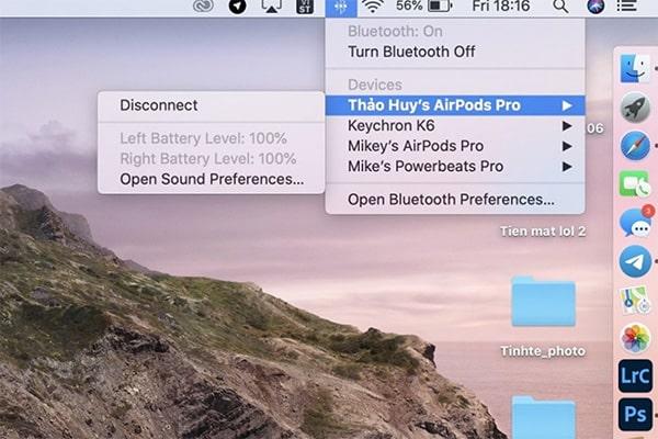 Kiểm tra pin tai nghe AirPods trên máy tính MacBook